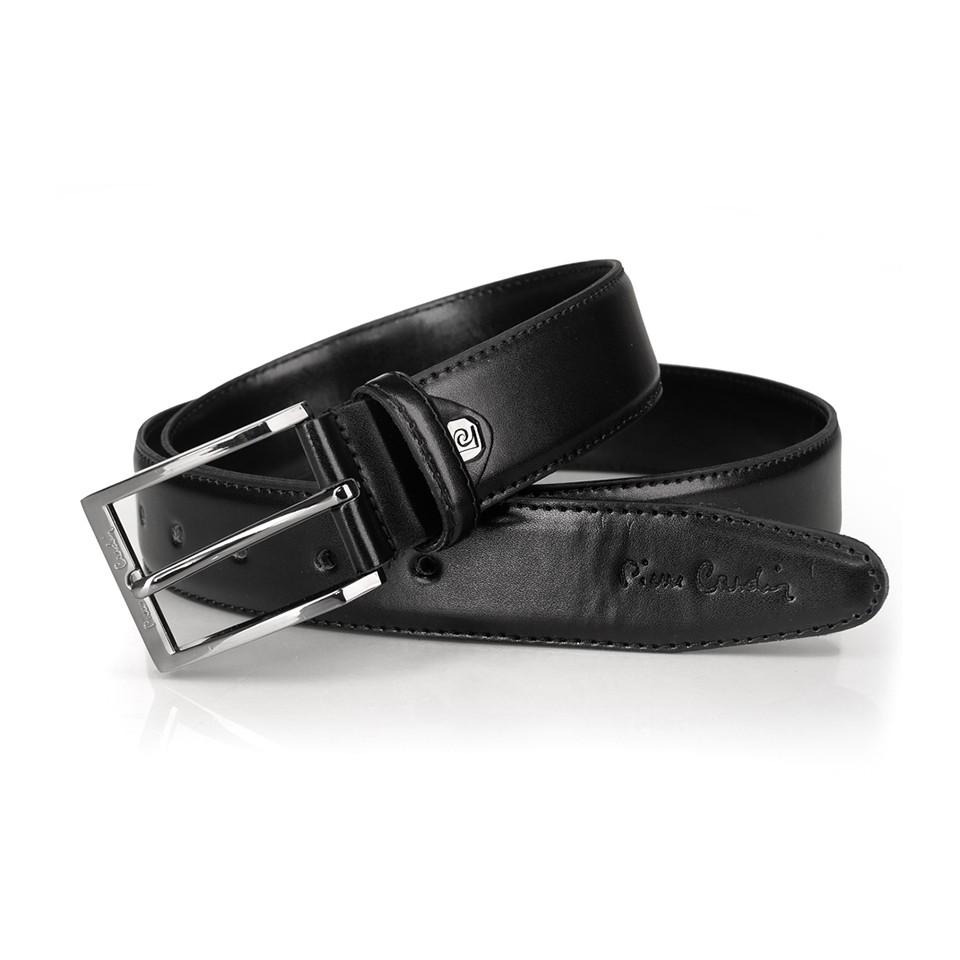 Pierre Cardin - elegancki męski pasek skórzany czarny (M014)