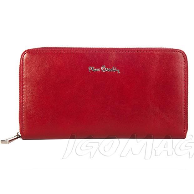 Pierre Cardin - Włoski duży skórzany damski portfel czerwony (8822A-520.7)