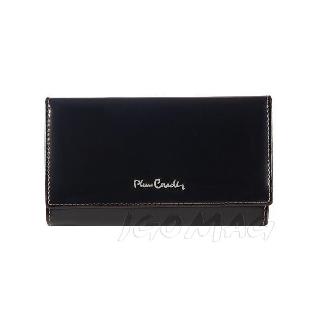 Pierre Cardin - Skórzany duży damski portfel lakierowany czarny (455-520.2)