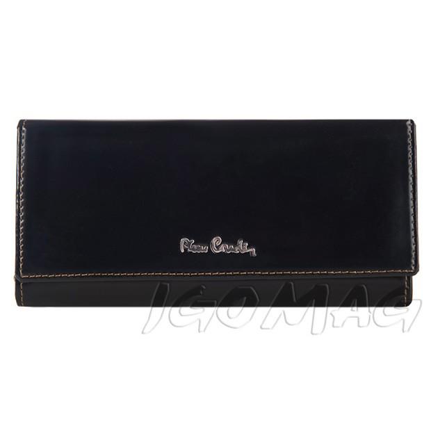 Pierre Cardin - Skórzany duży damski portfel lakierowany czarny (456-520.2)