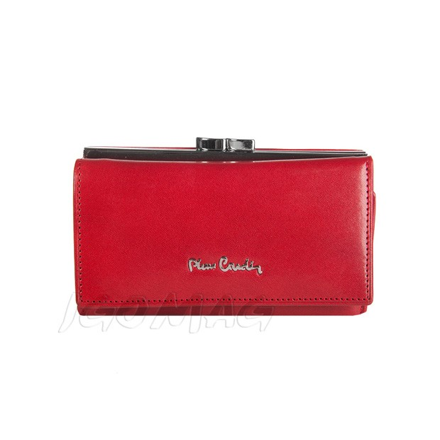Pierre Cardin - Skórzany damski portfel czerwony (457-520.7)