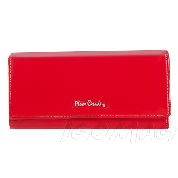 Pierre Cardin - Skórzany duży damski portfel lakierowany czerwony (456-520.2)