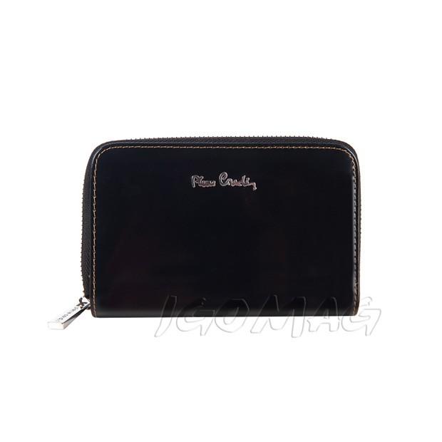 Pierre Cardin - Skórzany damski portfel lakierowany czarny (503-520.2)