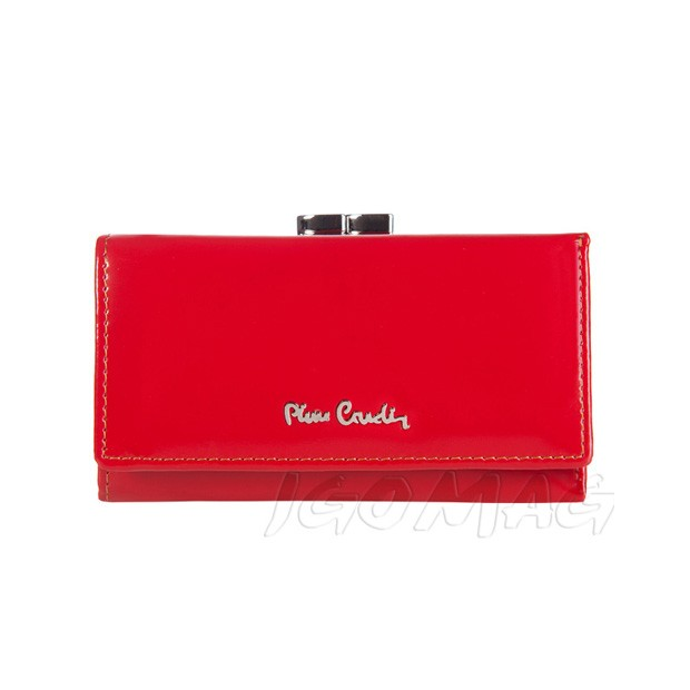 Pierre Cardin - Skórzany damski portfel lakierowany czerwony (457-520.2)