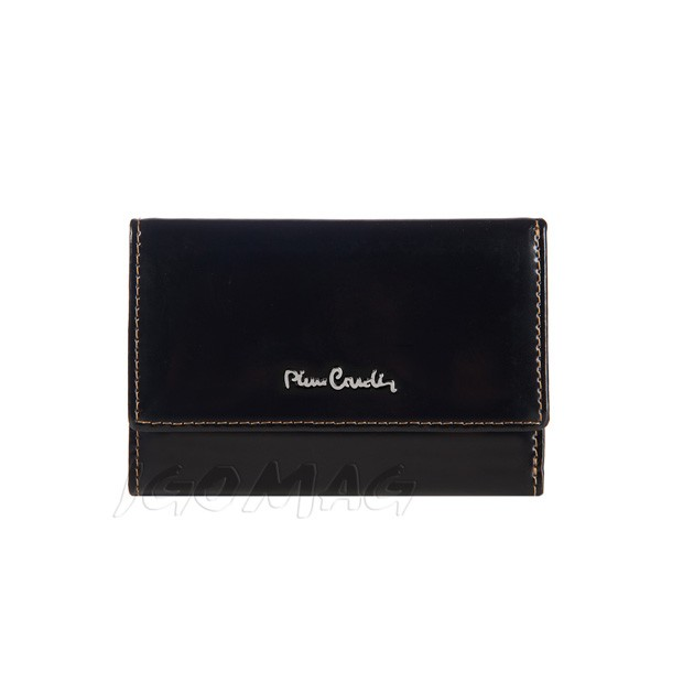 Pierre Cardin - Skórzany mały damski portfel lakierowany czarny (355-520.2)