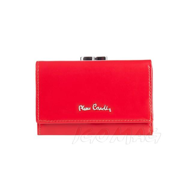 Pierre Cardin - Skórzany mały damski portfel lakierowany czerwony (355-520.2)