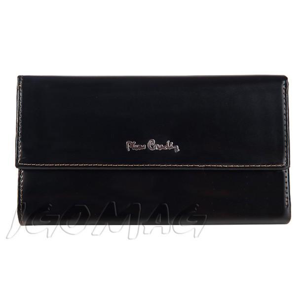 Pierre Cardin - Skórzany duży damski portfel lakierowany czarny (322-520.2)