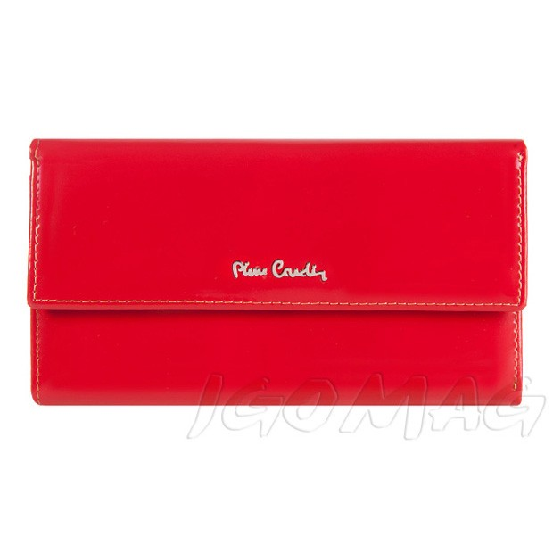 Pierre Cardin - Skórzany duży damski portfel lakierowany czerwony (322-520.2)