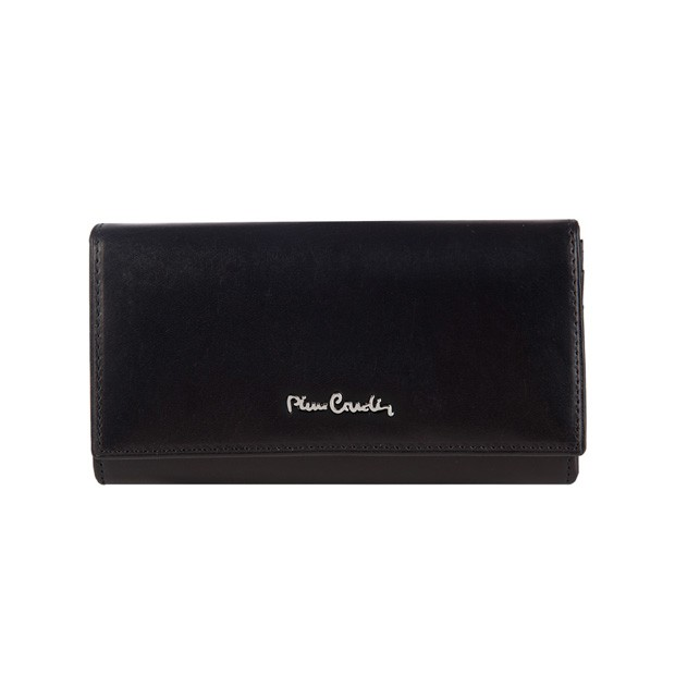 Pierre Cardin - Skórzany duży damski portfel czarny (455-520.7)