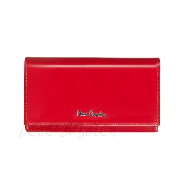 Pierre Cardin - Skórzany duży damski portfel lakierowany czerwony (455-520.2)