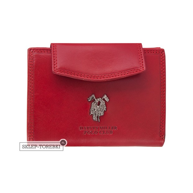 Harvey Miller - Skórzany portfel damski czerwony (3820-PL08)