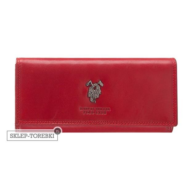 Harvey Miller - Duży skórzany portfel damski czerwony (3820-G18)