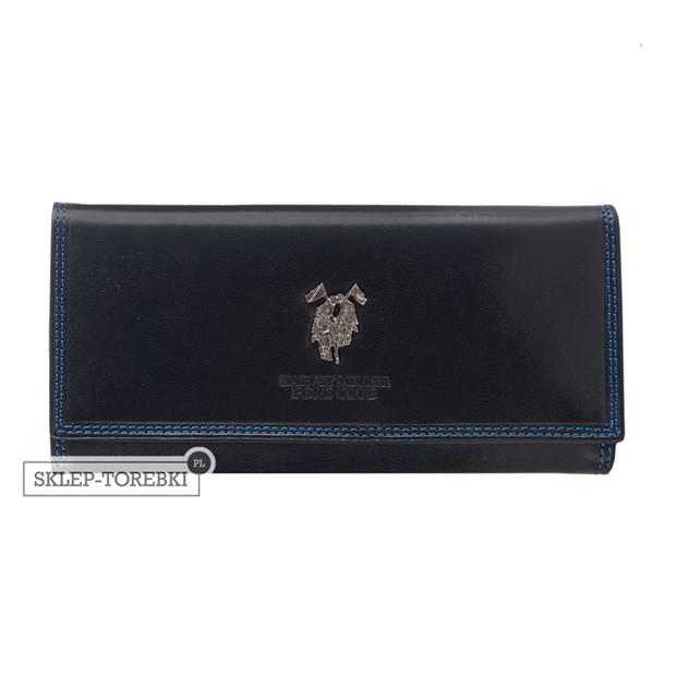 Harvey Miller - Duży skórzany portfel damski granatowy (3820-G18)