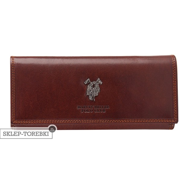 Harvey Miller - Duży skórzany portfel damski brązowy (3820-G18)