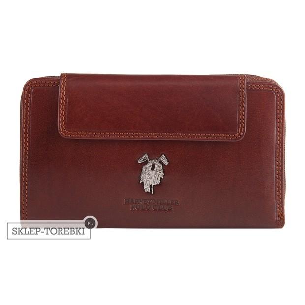 Harvey Miller - Duży skórzany portfel damski brązowy (3820-G13)