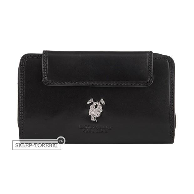 Harvey Miller - Duży skórzany portfel damski czarny (3820-G13)