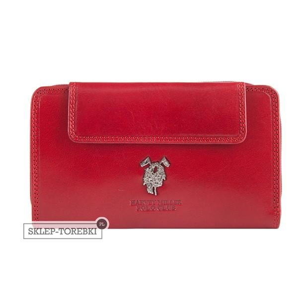 Harvey Miller - Duży skórzany portfel damski czerwony (3820-G13)