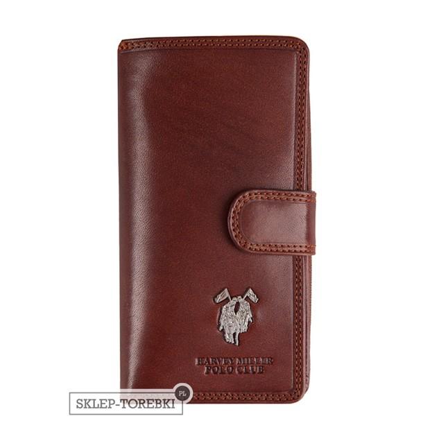 Harvey Miller - Duży skórzany portfel damski brązowy (3820-G16)