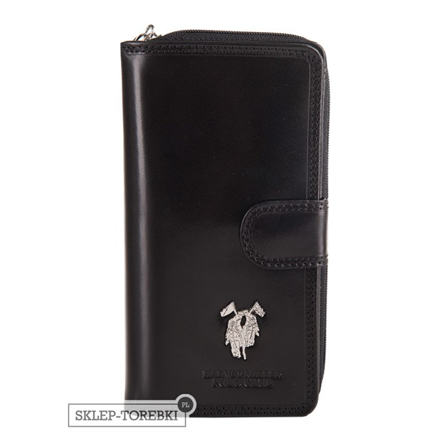 Harvey Miller - Duży skórzany portfel damski czarny (3820-G16)