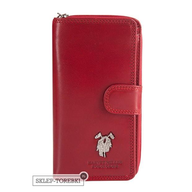 Harvey Miller - Duży skórzany portfel damski czerwony (3820-G16)