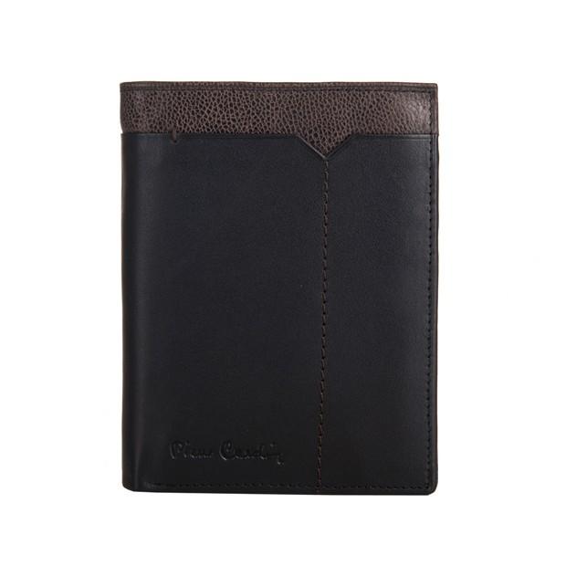 Pierre Cardin - Skórzany męski portfel czarny + brąz (326-CACTUS)