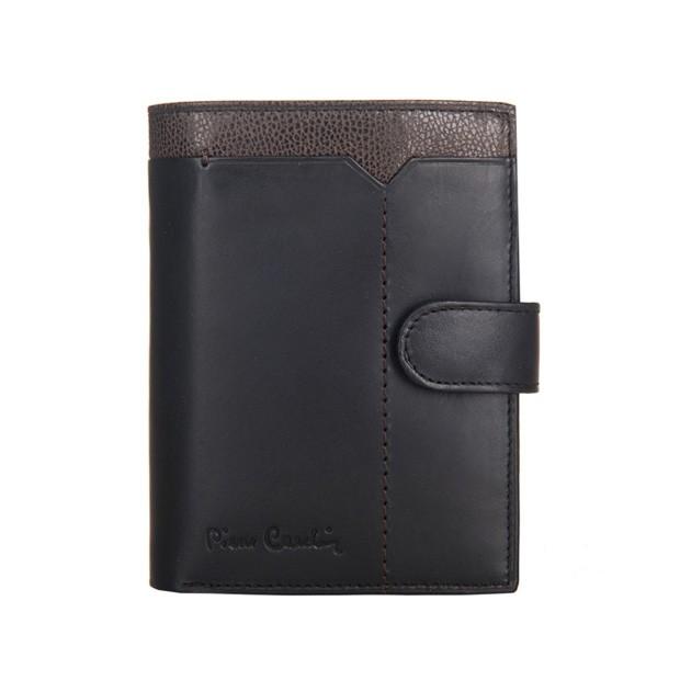 Pierre Cardin - Skórzany męski portfel czarny + brąz (326A-CACTUS)