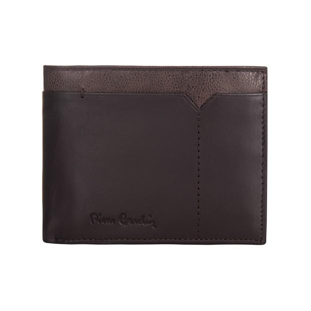 Pierre Cardin - Skórzany męski portfel ciemny brąz + brąz (325-CACTUS)