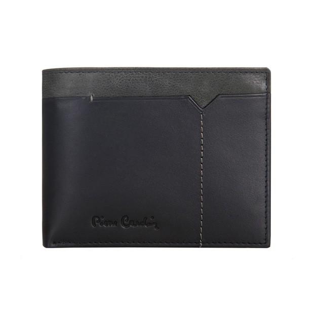 Pierre Cardin - Skórzany męski portfel czarny + popiel (325-CACTUS)