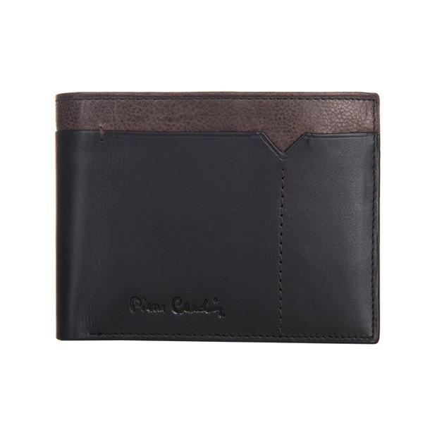 Pierre Cardin - Skórzany męski portfel czarny + brąz (325-CACTUS)