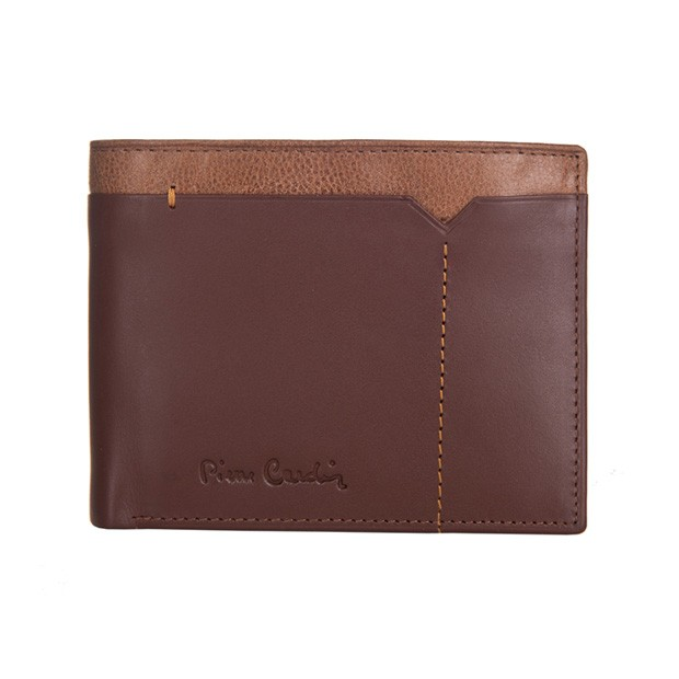 Pierre Cardin - Skórzany męski portfel brąz + camel (325-CACTUS)