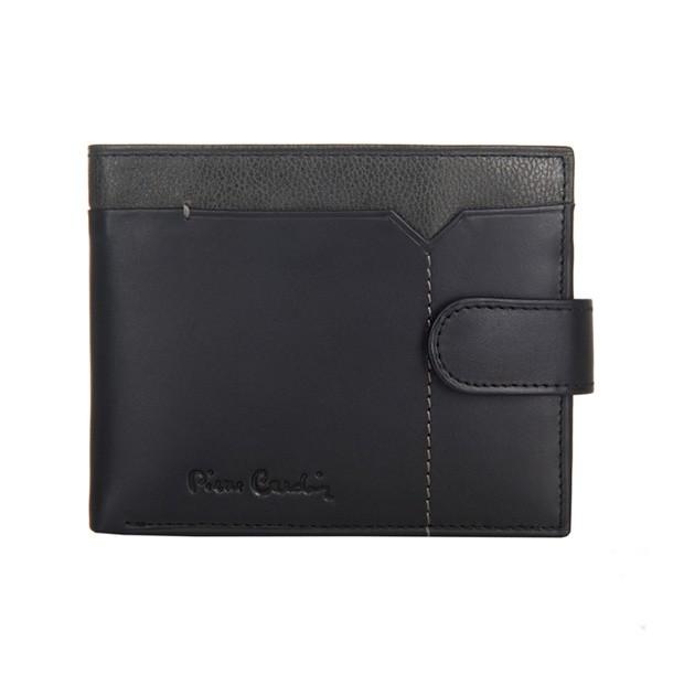 Pierre Cardin - Skórzany męski portfel czarny + popiel (324-CACTUS)