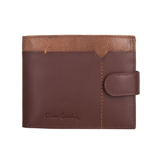 Pierre Cardin - Skórzany męski portfel brąz + camel (324-CACTUS)
