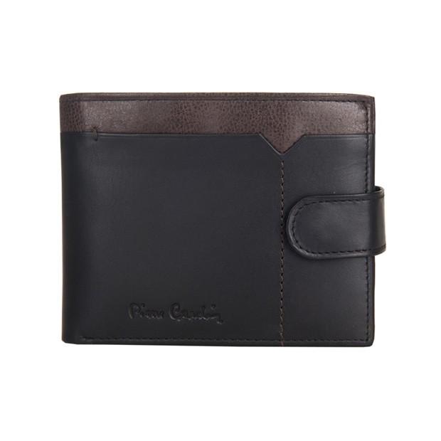 Pierre Cardin - Skórzany męski portfel czarny + brąz (324-CACTUS)