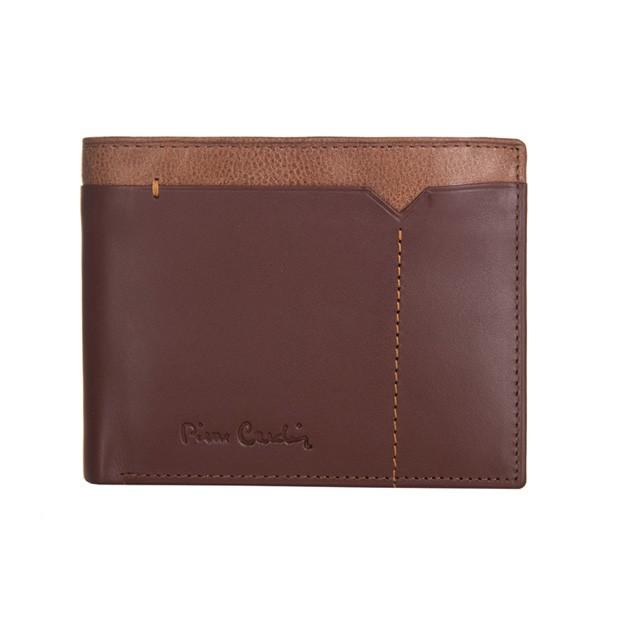 Pierre Cardin - Skórzany męski portfel brąz + camel (8806-CACTUS)