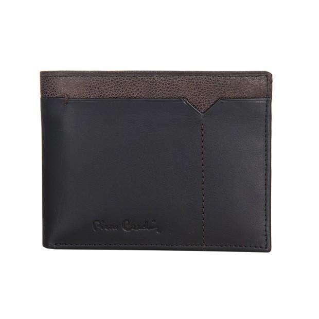 Pierre Cardin - Skórzany męski portfel czarny + brąz (8806-CACTUS)