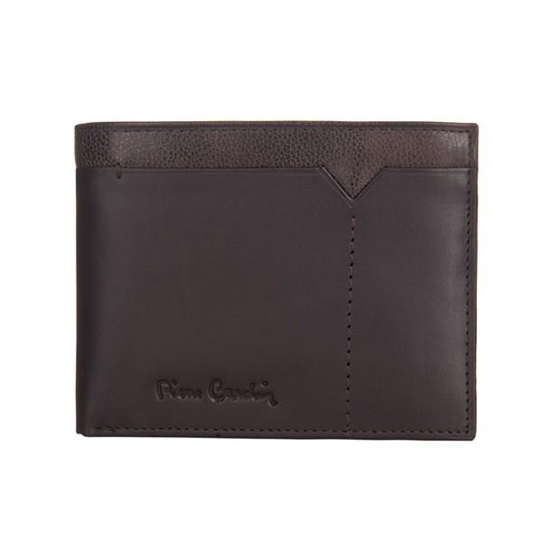 Pierre Cardin - Skórzany męski portfel ciemny brąz + brąz (8806-CACTUS)