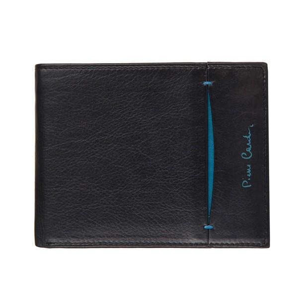 Pierre Cardin - Skórzany męski portfel czarny+niebieski (8806-TILAK07)