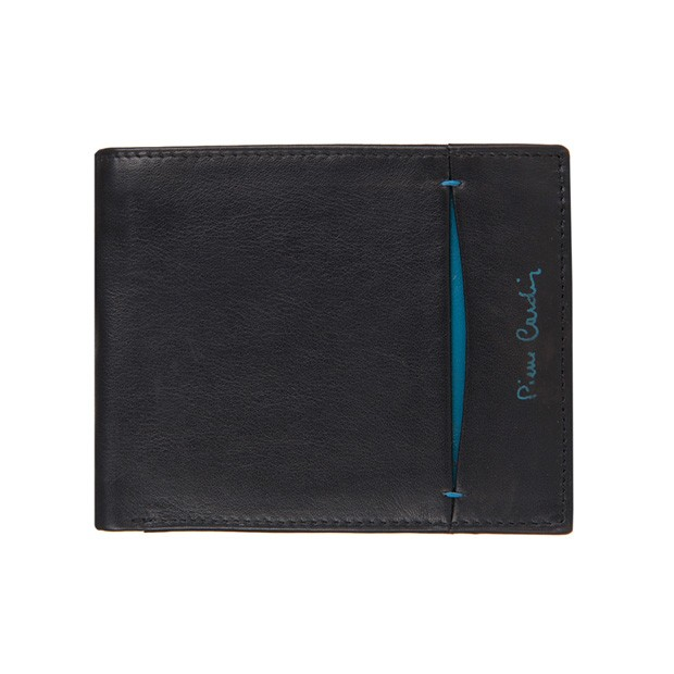 Pierre Cardin - Skórzany męski portfel czarny+niebieski (325-TILAK07)