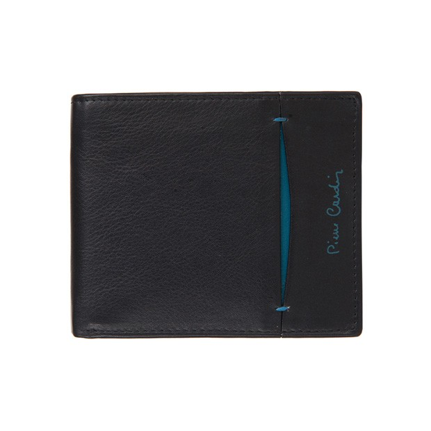 Pierre Cardin - Skórzany męski portfel czarny+niebieski (8824-TILAK07)