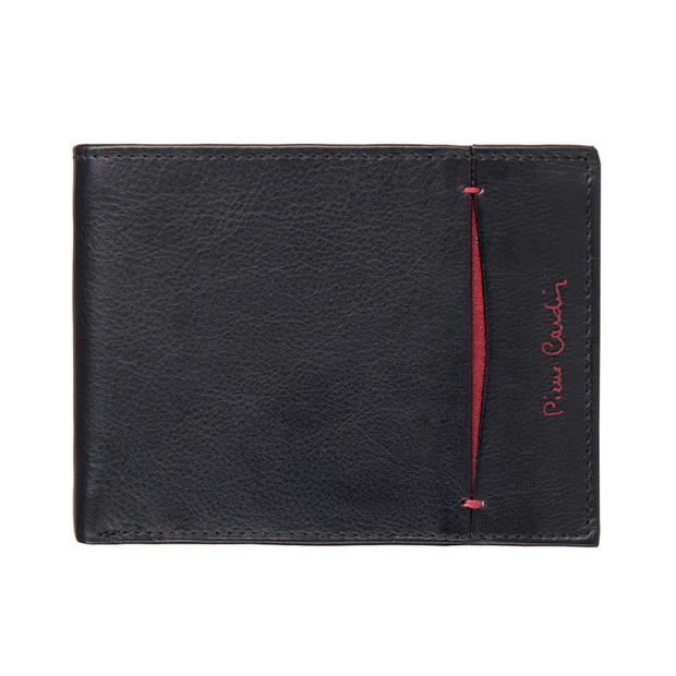 Pierre Cardin - Skórzany męski portfel czarny+bordowy (8805-TILAK07)