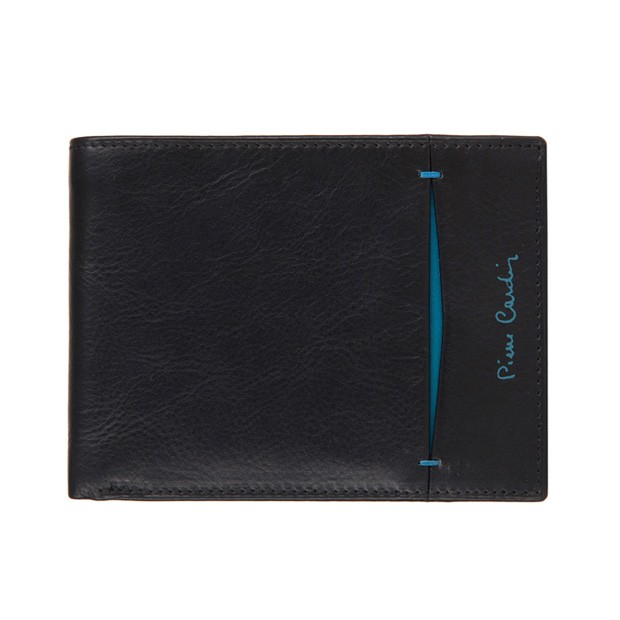 Pierre Cardin - Skórzany męski portfel czarny+niebieski (8805-TILAK07)