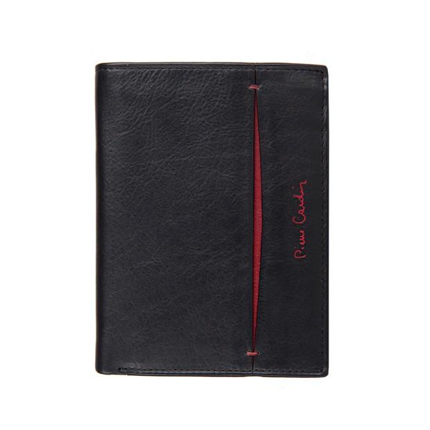 Pierre Cardin - Skórzany męski portfel czarny+bordowy (326-TILAK07)