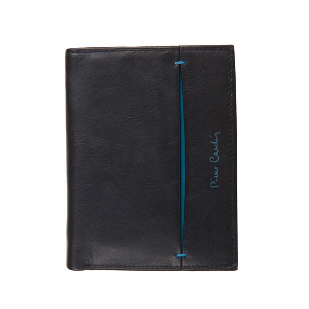 Pierre Cardin - Skórzany męski portfel czarny+niebieski (326-TILAK07)