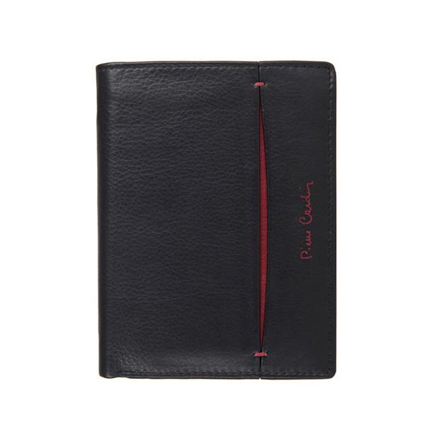 Pierre Cardin - Skórzany męski portfel czarny+bordowy (331-TILAK07)