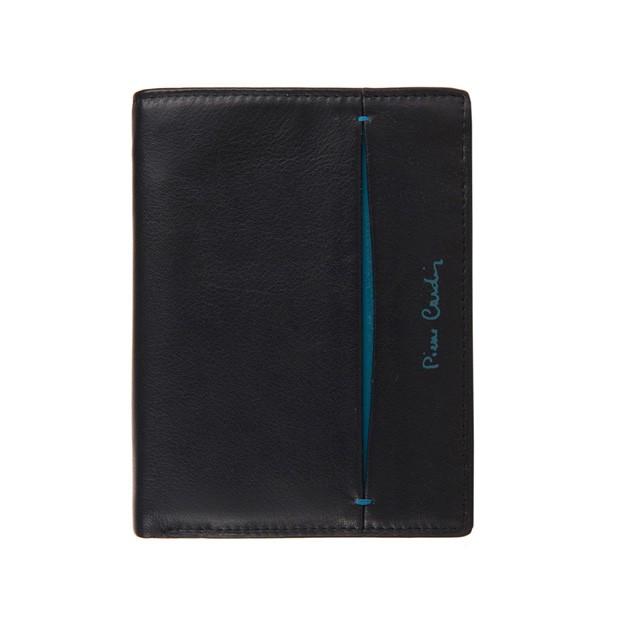 Pierre Cardin - Skórzany męski portfel czarny+niebieski (331-TILAK07)