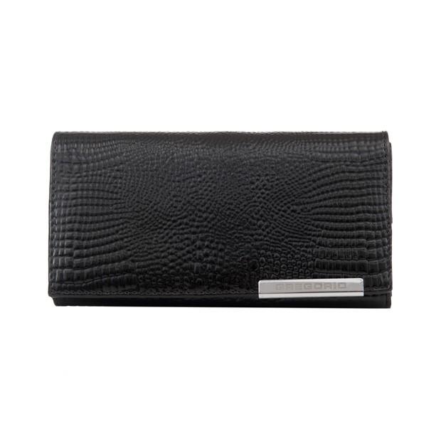 Gregorio - Skórzany duży damski portfel lakierowany czarny (CROCO-GF107)