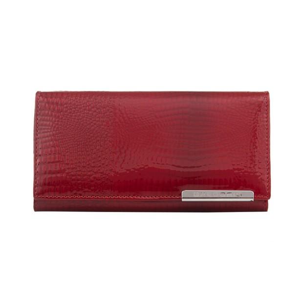 Gregorio - Skórzany duży damski portfel lakierowany czerwony (CROCO-GF107)