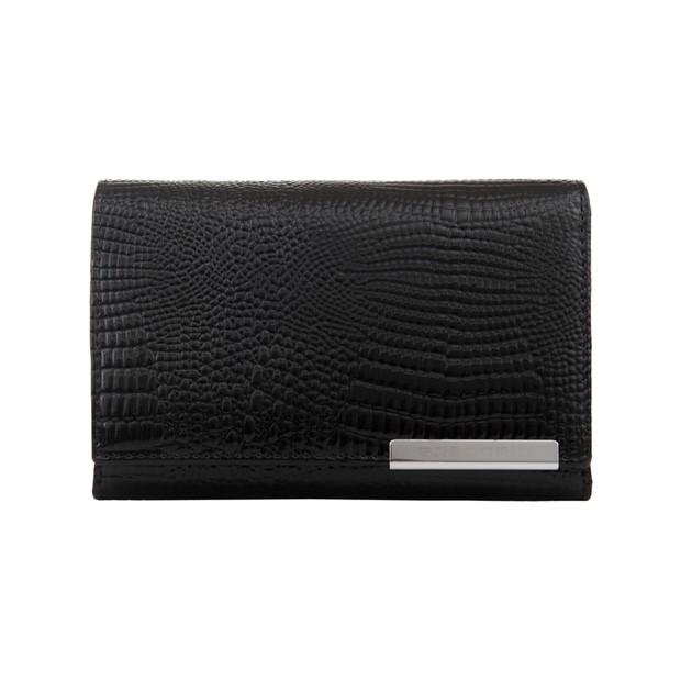 Gregorio - Skórzany damski portfel lakierowany czarny (CROCO-GF112)