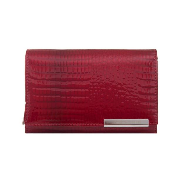 Gregorio - Skórzany damski portfel lakierowany czerwony (CROCO-GF112)