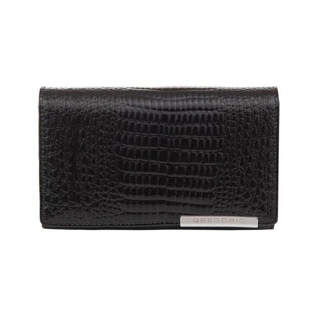 Gregorio - Skórzany damski portfel lakierowany czarny (CROCO-GF101)